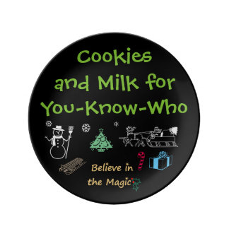Santa's Cookies and Milk Plate by RoseWrites Porcelain Plates