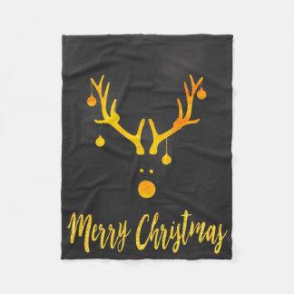 Santa's cute reindeer faux gold on gray fleece blanket