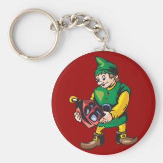 Santas Elf and Lantern Basic Round Button Key Ring