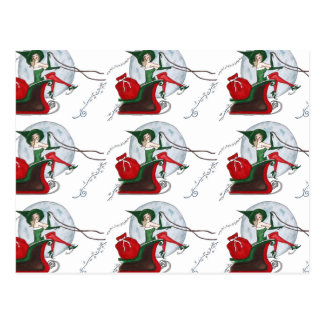 Santa's Elf and Sleigh Postcard