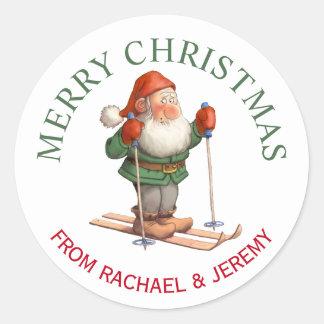 Santa's Elf on Skis Merry Christmas Round Sticker