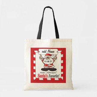 Santa's Favorite Personalize Gift Bag Budget Tote Bag