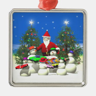 Santas First Stop on Christmas Silver-Colored Square Decoration