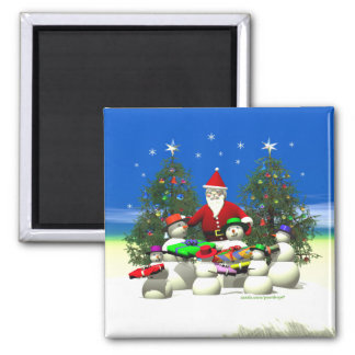 Santas First Stop on Christmas Square Magnet