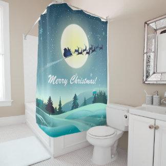 Santa's Flying Reindeer Sleigh Shower Curtain