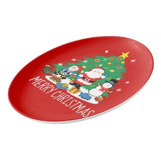 Santa's friends porcelain serving platter