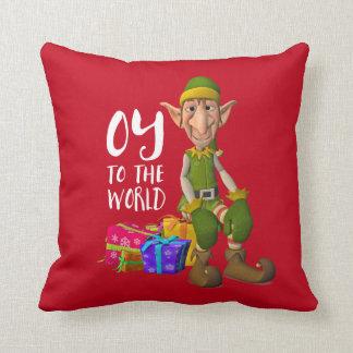 Santa's Funny Elf Christmas Cushion