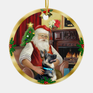 Santa's German Shepherd #15 Ceramic Ornament