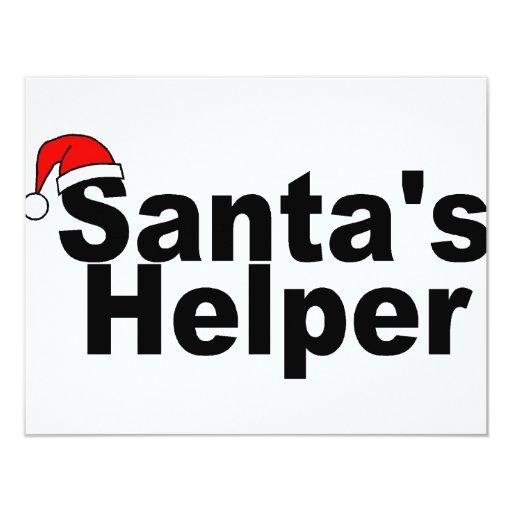 Santas Helper Black 11 Cm X 14 Cm Invitation Card