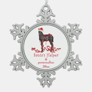 Santa's Helper Christmas Horse Colt Snowflake Pewter Christmas Ornament