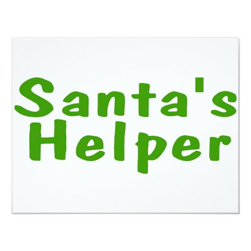 Santas Helper Green 11 Cm X 14 Cm Invitation Card