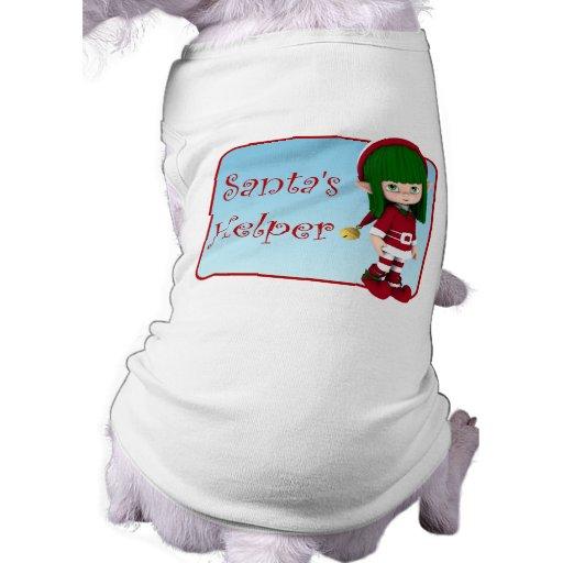 Santa's Helper Holiday Cute Elf Dog T-Shirt
