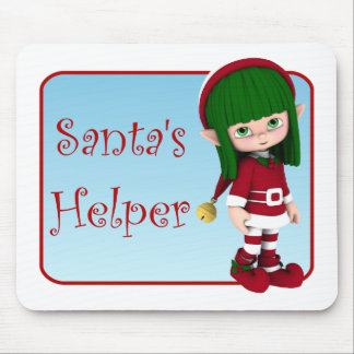 Santa's Helper Holiday Cute Elf Mousepad