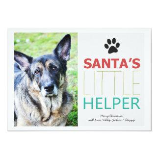 Santa's Helper- Pet Photo Holiday Flat Cards 13 Cm X 18 Cm Invitation Card