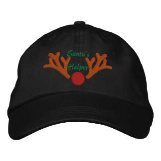 Santa's Helper Red Nose Reindeer Embroidery Embroidered Hats