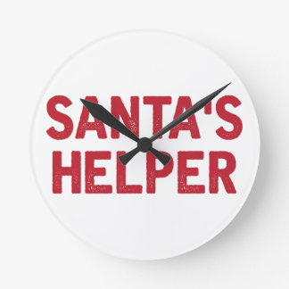 Santa's Helper Round Clock