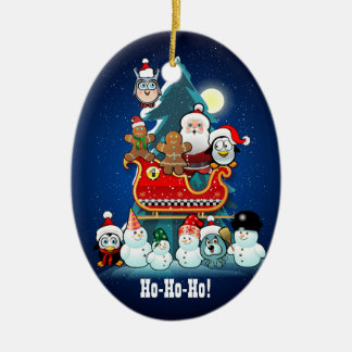 Santa's Holiday Party By The Christmas Tree Ceramic Oval Decoration