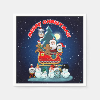 Santa's Holiday Party By The Christmas Tree Paper Serviettes