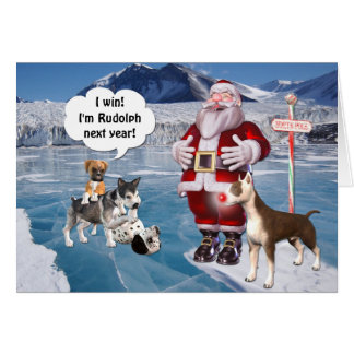 Santa's is a Bull Terrier Dog Card