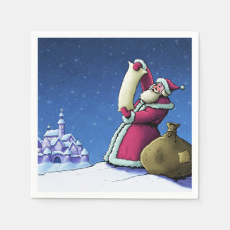 santa's list christmas holiday illustration paper napkin