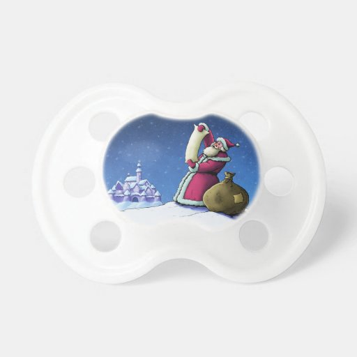 santa's list happy holiday illustration baby pacifier