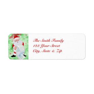 Santa's List Return Address Label