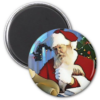 Santa's List 6 Cm Round Magnet