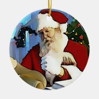 Santa's List Round Ceramic Decoration