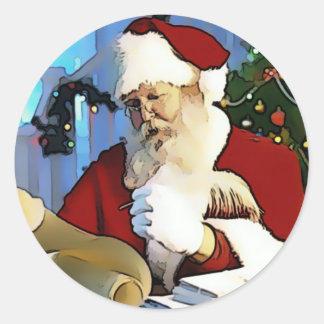 Santa's List Round Sticker