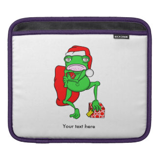 Santas Little Amphipian Helper Funny Frog iPad Sleeves