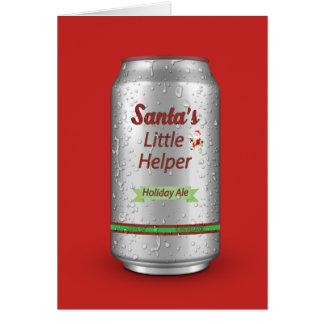 Santa's Little Helper Beer Can Card