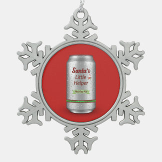 Santa's Little Helper Beer Can Pewter Snowflake Decoration