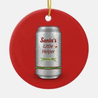 Santa's Little Helper Beer Can Round Ceramic Decoration
