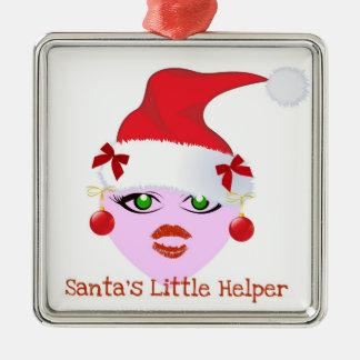 """""""SANTA'S LITTLE HELPER"""" CUTE GIRL ELF Silver-Colored SQUARE DECORATION"""