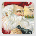 Santa's Looking at You Square Sticker
