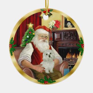 Santa's Maltese (#11) Ceramic Ornament