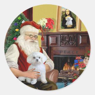Santa's Maltese (R) Classic Round Sticker