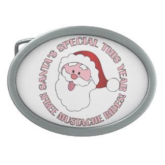 Santa's Mustache Rides belt buckle