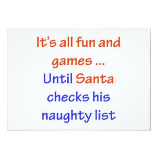 Santa's Naughty List 13 Cm X 18 Cm Invitation Card