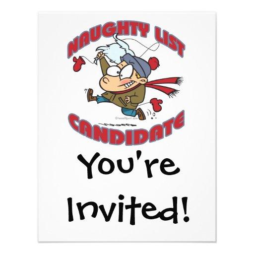 santas naughty list candidate cartoon custom invites