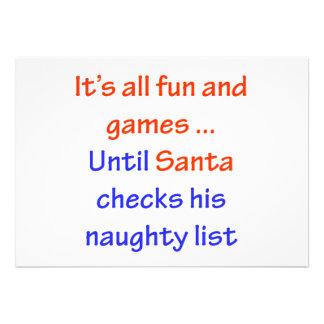 Santa's Naughty List Personalized Invites