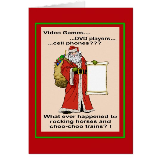 Santa's New Gift List Greetings Card