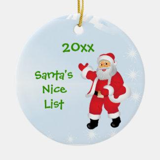 Santa's Nice List Ornament with Customizable Year