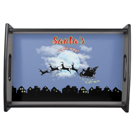 Santas on his way Christmas Holiday Serving Tray