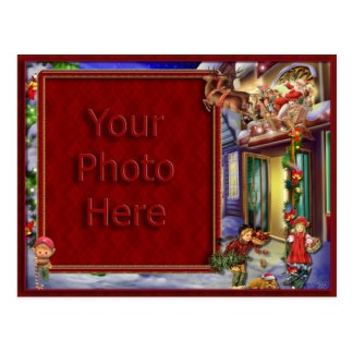 Santa's On His Way Picture Frame Postcard