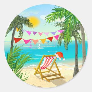 Santa's on Vacation - Beach Christmas Classic Round Sticker