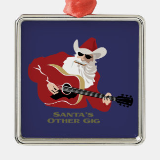 Santa's Other Gig Silver-Colored Square Decoration