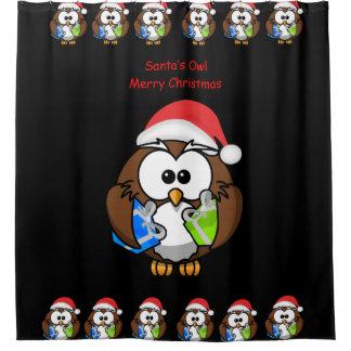 Santa's Owl children's shower curtain black back