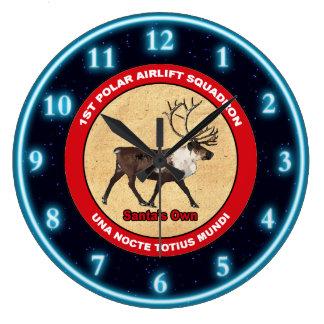 Santa's Own - 1st Polar Airlift Squadron Large Clock