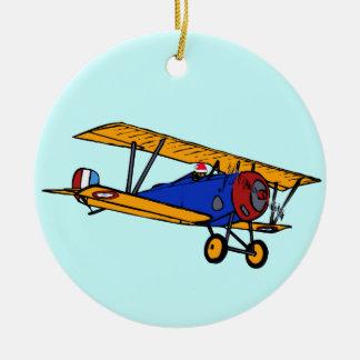 Santa's Plane Ceramic Ornament